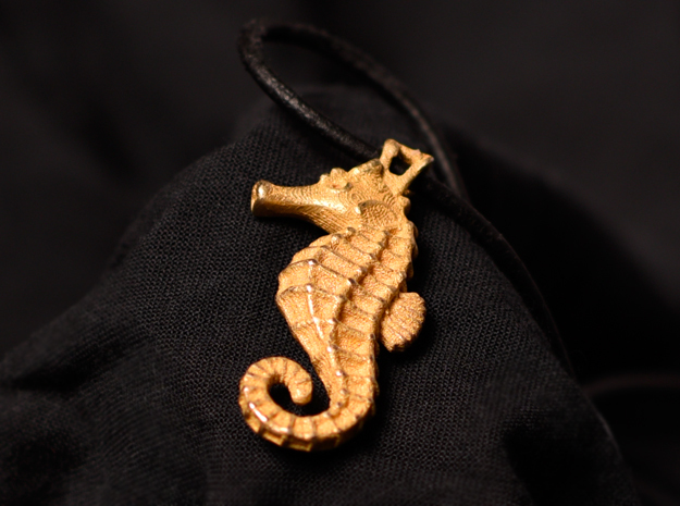 Seahorse Pendant in Polished Gold Steel