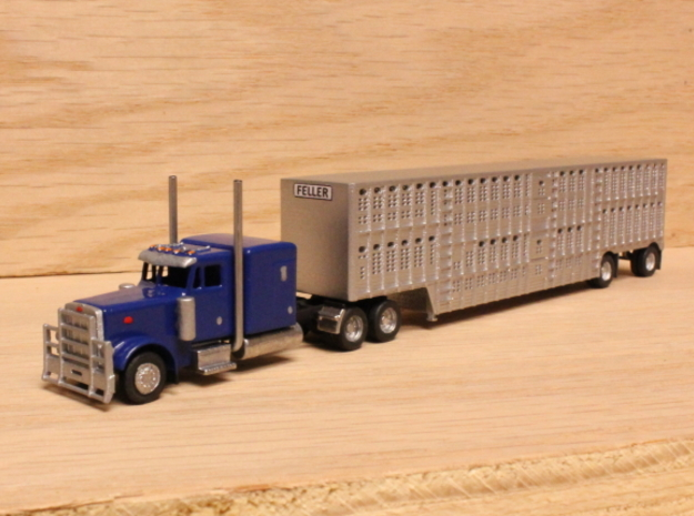 1:160 N Scale 53' Spread Axle Livestock Trailer 3d printed