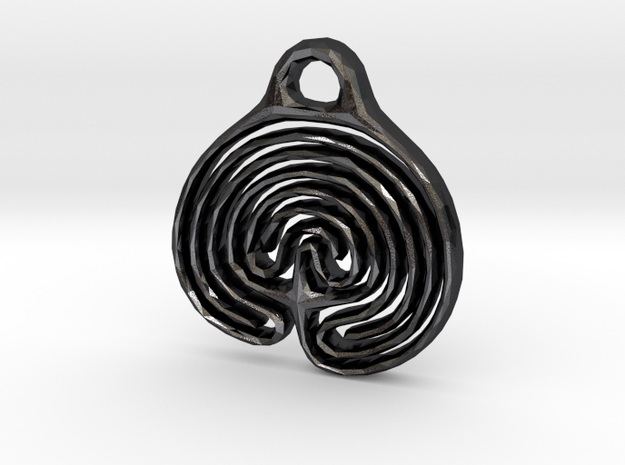 Labyrinth Pendant in Polished Grey Steel