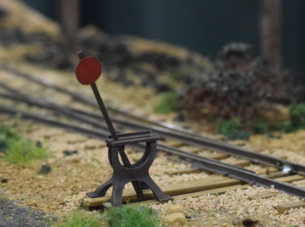 Harp Switch Stand - Chunky base, O Scale in Smoothest Fine Detail Plastic