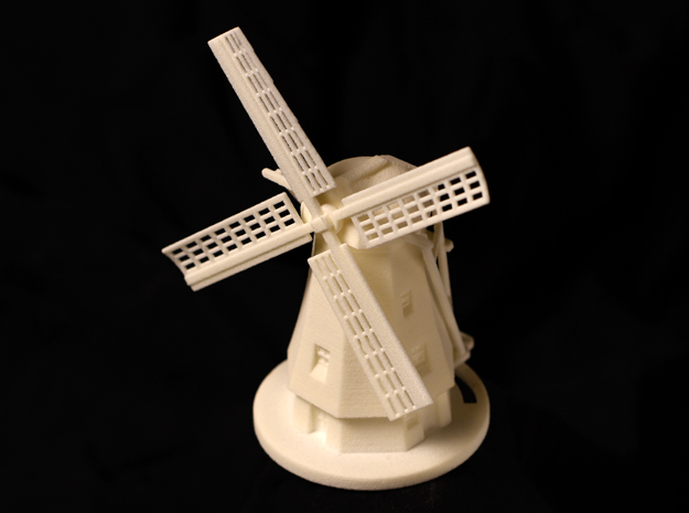 Dutch Windmill in White Natural Versatile Plastic