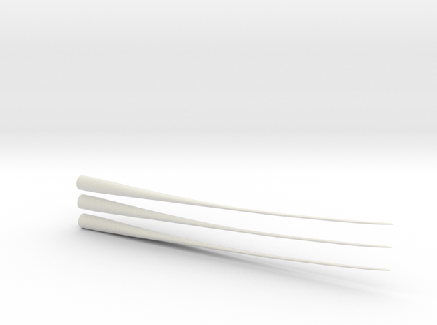 Z Scale Wind Turbine Blades 3 Pack - (Part 2 of 2) in White Strong & Flexible