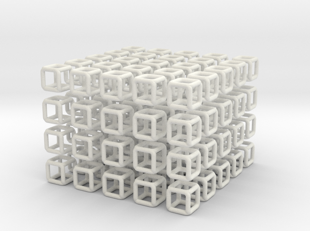 Little Cubes 100x scale 1-100  in White Natural Versatile Plastic: 1:100