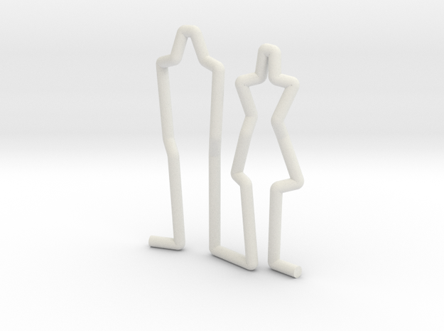 Family Couple scale 1-100 in White Strong & Flexible: 1:100