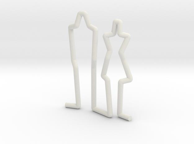 Family Couple scale 1-100 in White Natural Versatile Plastic: 1:100