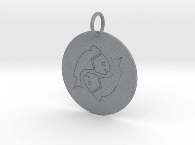 Pisces Keychain in Polished Metallic Plastic