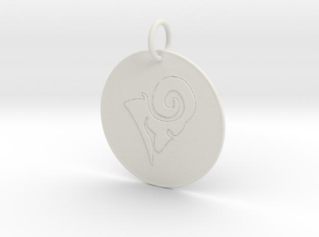 Aries Keychain in White Natural Versatile Plastic