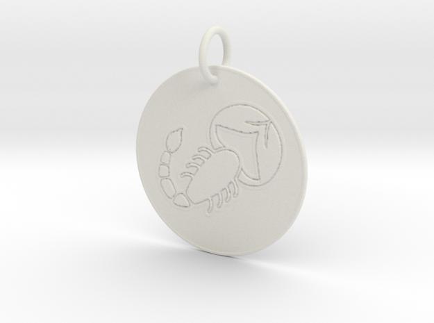 Scorpio Keychain in White Natural Versatile Plastic