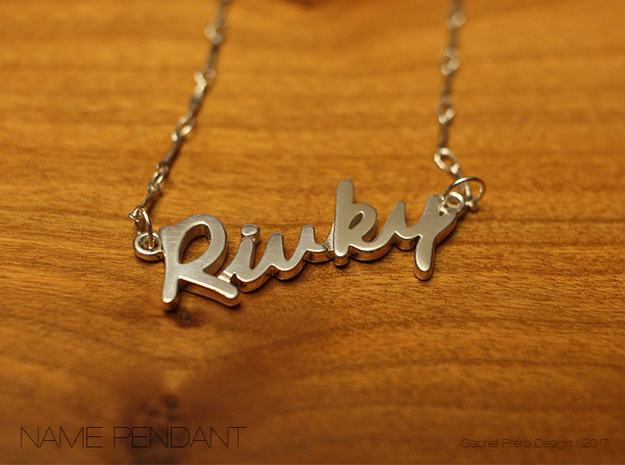 "Name Pendant - ""Rivky"" in Polished Silver"