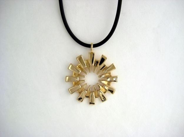 Sunburst Pendant - Printed Light in Fine Metals 3d printed Sunburst Pendant by seriaforma in Polished Brass
