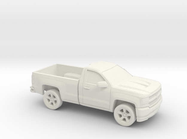 1/87 2016/17 Chevrolet Silverado Single Cab Long B in White Natural Versatile Plastic
