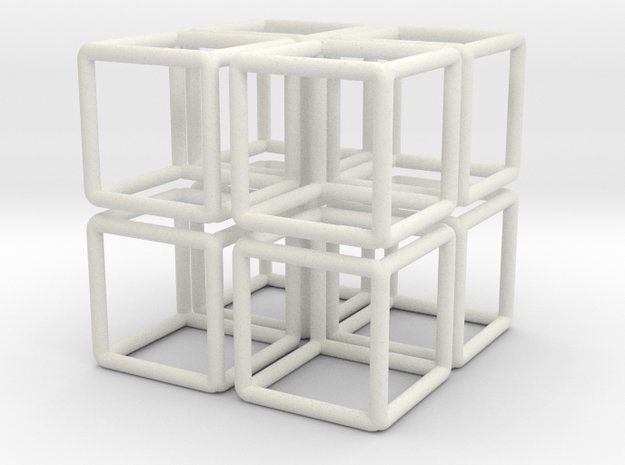 Building Cube 8x Scale 1-200 3,5x3,5x3,5m in White Natural Versatile Plastic: 1:200