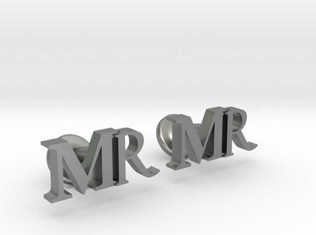 MR personalised cufflinks in Natural Silver