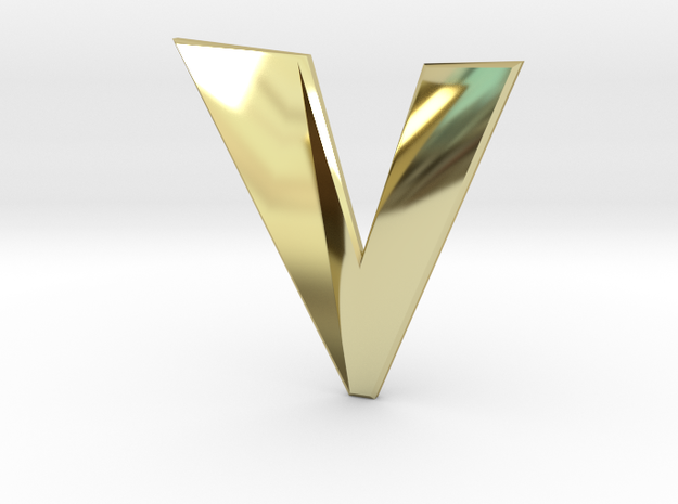 Distorted letter V in 18k Gold Plated Brass
