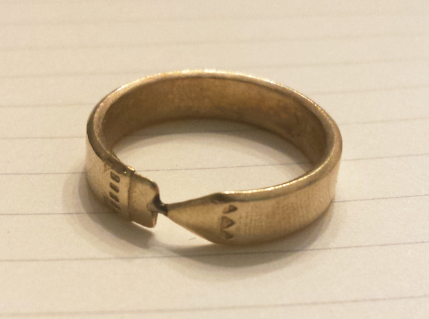 Pencil Ring, Size 5 in Raw Brass