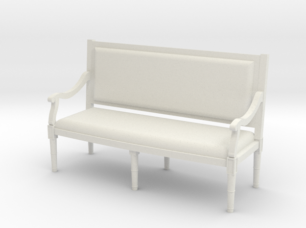 1:48 Louis XVI Sofa Settee with Straight Back in White Natural Versatile Plastic