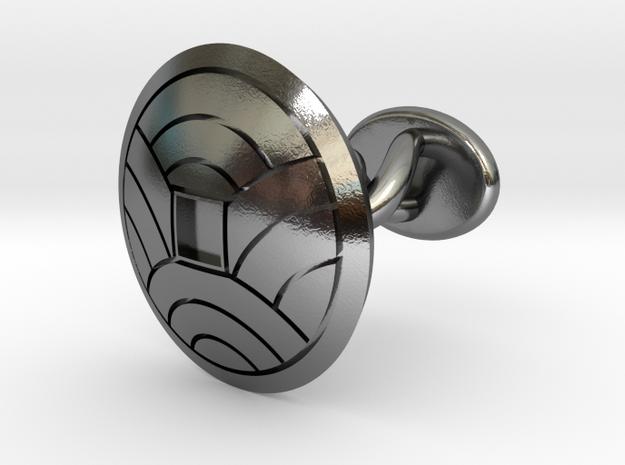 "Japanese Kamon cufflinks ""裏浪銭紋"" in Polished Silver: Small"