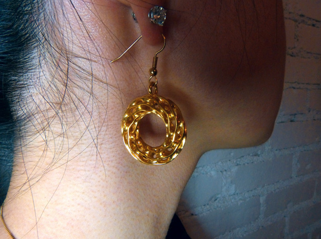 Twisted Scherk Linked 3,4 Torus Knots Earrings in 18k Gold Plated Brass