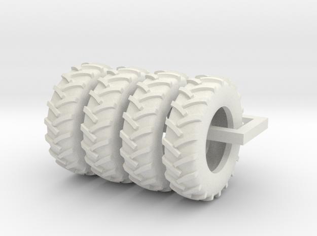 1/64 Scale 18.4R34 Tires, Set Of 4 in White Natural Versatile Plastic