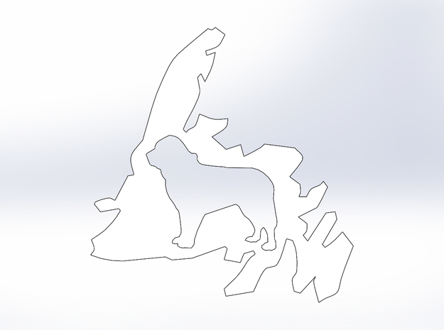 Newfoundland Dog Cutout (L) in White Natural Versatile Plastic