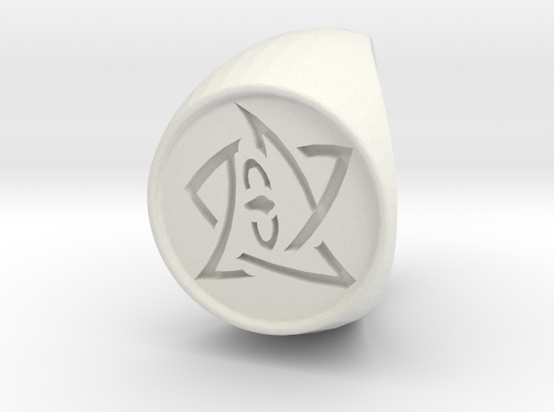 Elder Sign Ring Size 9 in White Natural Versatile Plastic