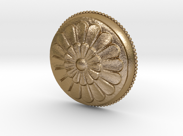 Circular Flowers Relief Pendant in Polished Gold Steel