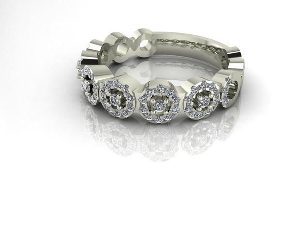 Band Halo stack ring 144 P1 in Premium Silver