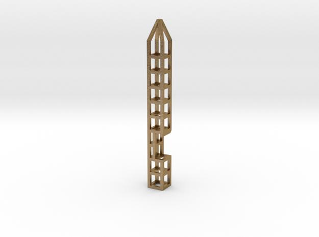 Pen Keychain-Holder + Bottle-Opener in Polished Gold Steel