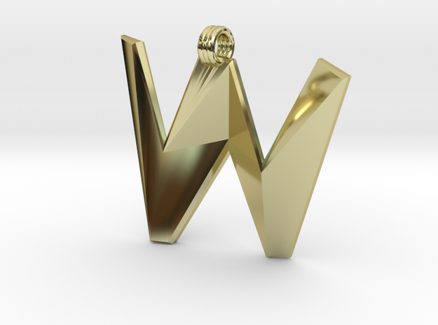 Distorted letter W in 18k Gold Plated Brass