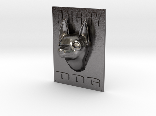 Angry Dog Sign in Polished Nickel Steel: Small