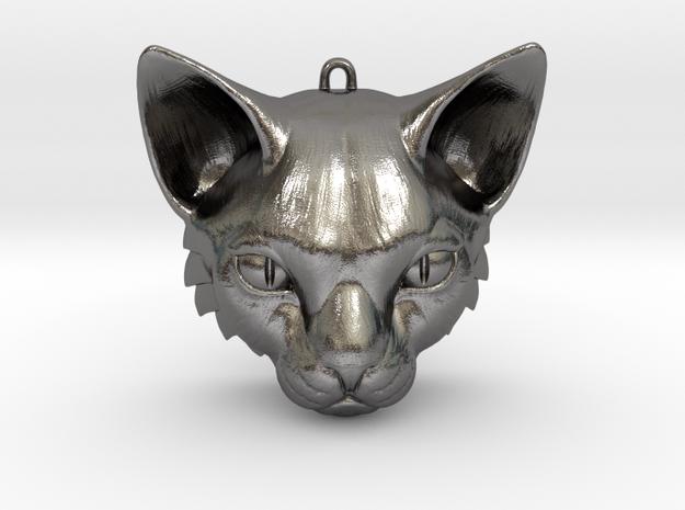 Feline Huntress Pendant in Polished Nickel Steel