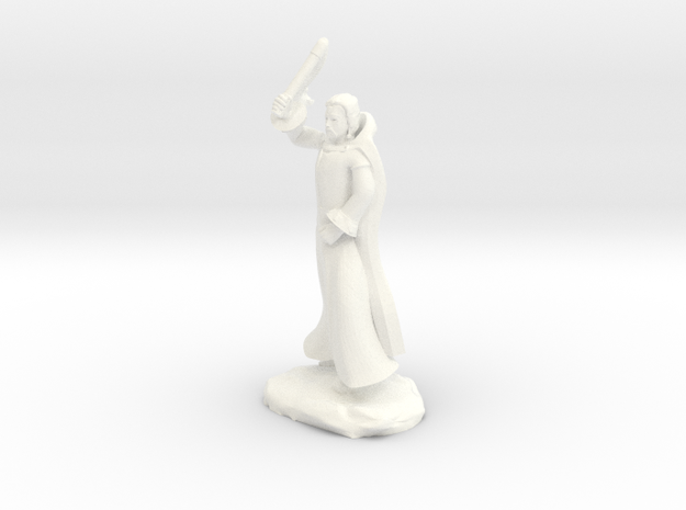 Fzoul, Human Wizard In Robes With Flail in White Processed Versatile Plastic