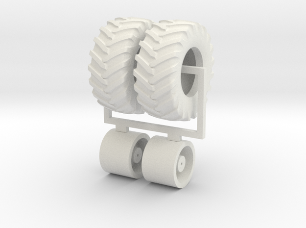 1/64 620/75r30 wheels and tires  in White Natural Versatile Plastic