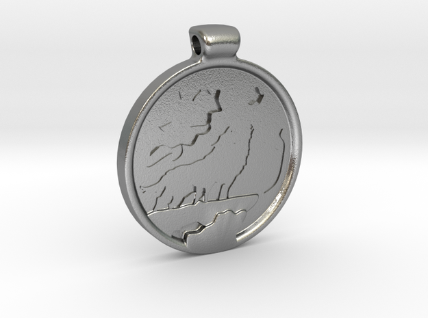 Wolves howling at the moon pendant