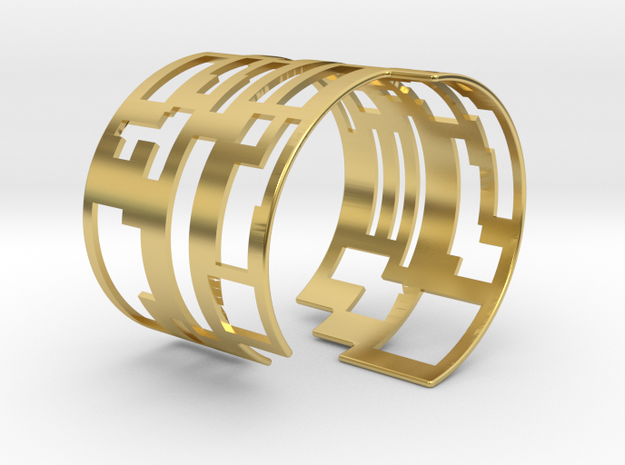 QR-code Cuff Bracelet in Polished Brass