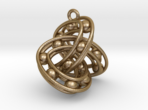 Trefoil-Parametrisch-Sieraad-Square in Polished Gold Steel