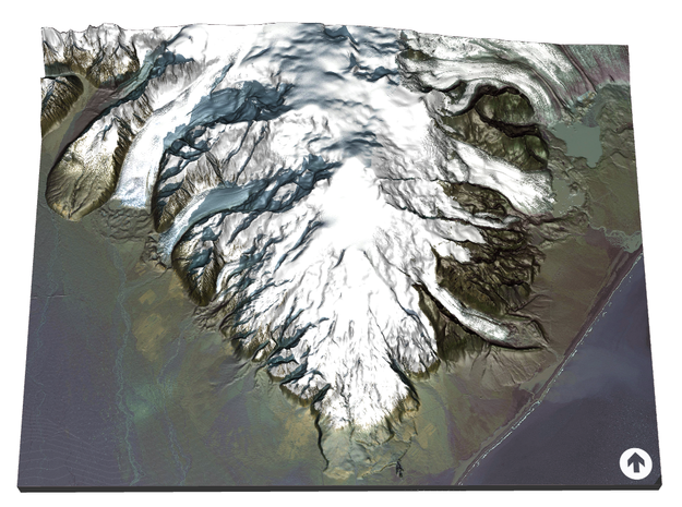 Hvannadalshnukur Map, Iceland in Coated Full Color Sandstone