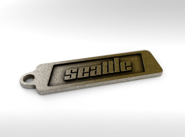 Seattle, Washington Keychain in Polished Bronze Steel
