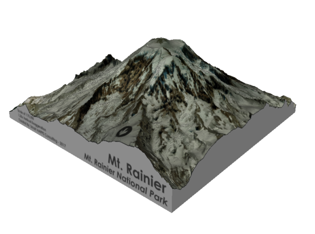 "Mount Rainier Summit Map - 5"" in Coated Full Color Sandstone"