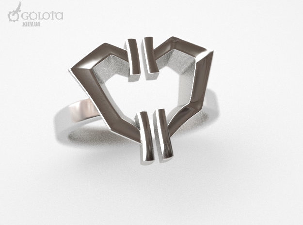 High Voltage Ring (divorced heart) in Polished Nickel Steel: 8 / 56.75