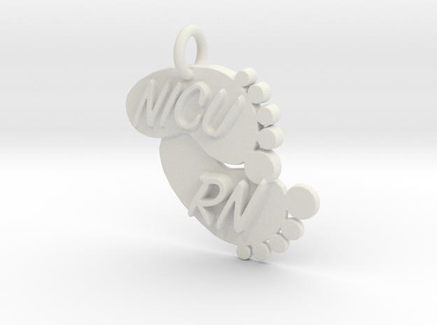 NICU RN Foot Print Keychain in White Natural Versatile Plastic