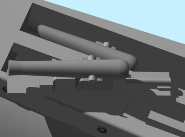 Gun Boat Gun parts 3d printed Two guns mounted in the 500-Ton gunboat.