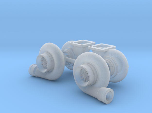 """Mirrored 1/25 Turbo pair 64mm (2.5"""") in Smooth Fine Detail Plastic"""