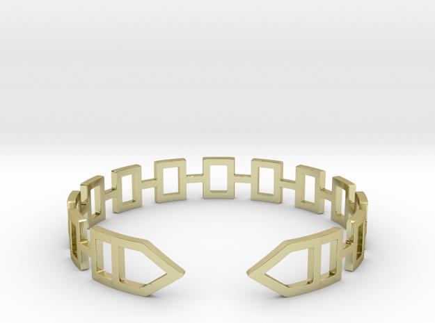 2D Houses  Bracelet Medium Size D=65mm in 18k Gold Plated Brass: Medium