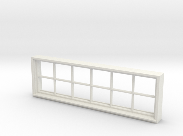 Window, 96in X 30in, 12 Panes, 1/32 Scale in White Natural Versatile Plastic