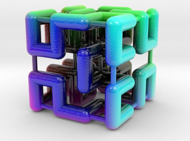 Hilbert Cube in Glossy Full Color Sandstone