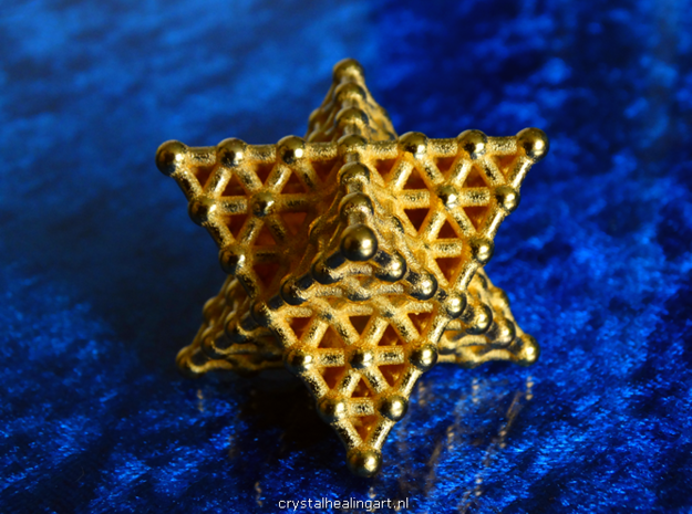 Merkaba Matrix 3 - Surface - Star tetrahedron grid in Polished Gold Steel