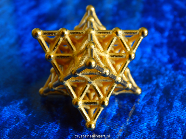 Merkaba Matrix 2 - Star tetrahedron grid in Polished Gold Steel