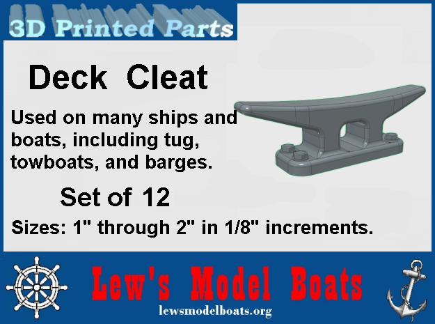 """Deck Cleat set of 12, 1"""" thru 2"""" long by 1/8's in White Natural Versatile Plastic: 1:12"""