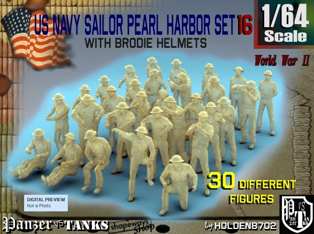 1-64 US Navy Pearl Harbor Set 16 in Smooth Fine Detail Plastic